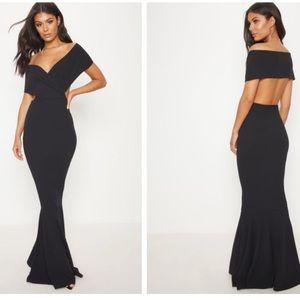 Black Bardot Cut Out Fishtail Maxi Dress